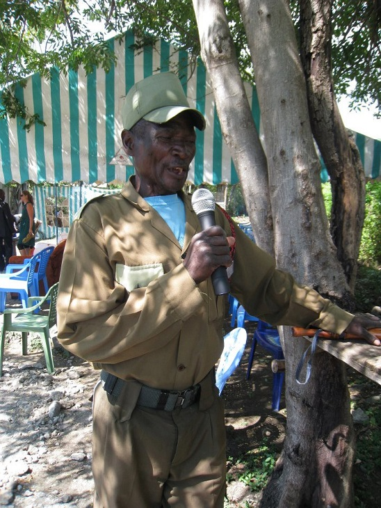 EK's security chief, Mzee Otindo, gets a first chance to hear his voice over the radio.